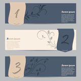 Cool slate blue banners with ribbons and floral elements Royalty Free Stock Photos