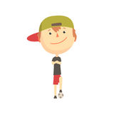 Cool smiling cartoon boy playing with a ball, kids outdoor activity, colorful character vector Illustration. Isolated on a white background Stock Image