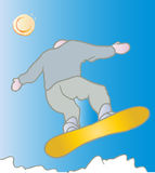 Cool Snowboarder. Vector illustration of a snowboarder jumping with mountains and sun and blue skies Royalty Free Stock Photography