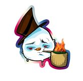 Cool Snowman. Urban hip hop Frosty Snowman smoking marijuanna from a corn cob pipe Royalty Free Stock Photo