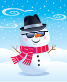 Cool Snowman in a Fedora. Cartoon illustration of a snowman, wearing a fedora hat, sunglasses and a red striped knit scarf, while it is snowing royalty free illustration