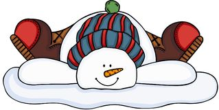 Cool snowman laying down in the snow Stock Photo