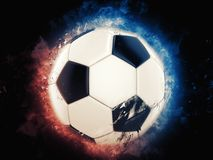 Cool soccer ball illustration. On black background royalty free illustration