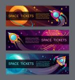 Space horizontal banners. Rocket launch concept. Vector illustration. Cool space horizontal banners set. Web page, flyer, poster, brochure design template stock illustration