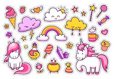 Cool stickers set of cartoon characters, clouds, rainbow, magic elements. royalty free illustration