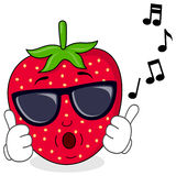 Cool Strawberry Whistling with Sunglasses Stock Photos