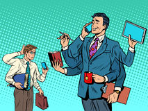 Cool successful businessman and a loser. Pop art retro style. business solutions. multitasking. New technologies. Leader and laggard Royalty Free Stock Images