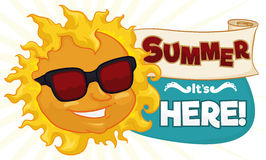 Cool Summer Banner with Sun, Scroll and Sign, Vector Illustration. Smiling cool sun with sunglasses and greeting sign made with a scroll for summer holiday Royalty Free Stock Photography