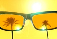 Cool summer grunge poster with palm trees reflecting in sunglasses - summer illustration with copy space for text - stock. Image stock illustration