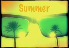 Cool summer grunge poster with palm trees reflecting in sunglasses with text summer - stock. Image royalty free illustration
