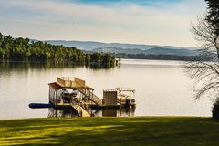 Cool summer morning by the lake. Right after sunrise. Shot over Cherokee lake in TN Stock Image