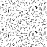 Cool summer pattern, doodles, graffiti, pizza, smart phone, ice Stock Image