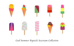 A Cool summer popsicle icecream sweet colorful dessert collection. Cool summer popsicle ice cream sweet colorful dessert collection Stock Photos