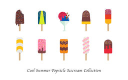 Cool summer popsicle icecream sweet colorful dessert collection. Cool summer popsicle ice cream sweet colorful dessert collection Royalty Free Stock Images