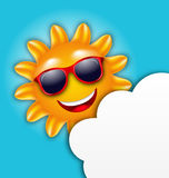 Cool Summer Sun in Sunglasses with Cloud. Illustration Cool Summer Sun in Sunglasses with Cloud, Copy Space for Your Text - Vector Stock Photo