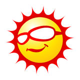 Cool sun. Sun cartoon wearing sunglass on white background Stock Images