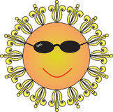 Cool Sun. Vector Sun, he's so cool Stock Photo