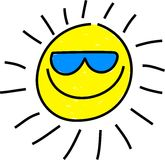 Cool sun. Whimsical drawing of a isolated sun wearing sunglasses Royalty Free Stock Image