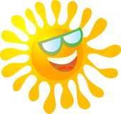 Cool Sun. Cool cartoon sun wearing sunglasses isolated on white Royalty Free Stock Photography