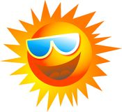 Cool Sun. Happy cartoon sun wearing sun glasses isolated on white Royalty Free Stock Photo
