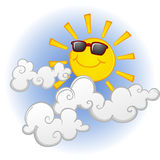 Cool Sun in the Clouds. A cool sunglasses wearing sun, hanging out in the clouds Stock Photos