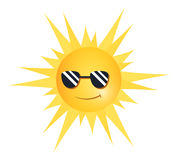 Cool Sun. Illustration of a smiling sun wearing sunglasses Stock Photo