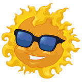 Cool Sun with Sunglasses Isolated, Vector Illustration. Smiling sun with sunglasses in summertime and isolated in white background Stock Photos