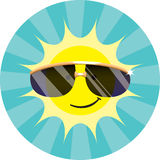 Cool Sun Wearing Sunglasses. Spot illustration of a smiling cartoon sun wearing shades and emitting rays Royalty Free Stock Photography
