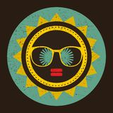 Cool sun with woman face in retro style. Royalty Free Stock Photo