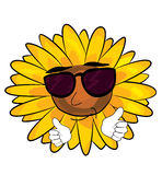 Cool sunflower cartoon Stock Photo