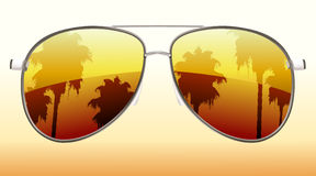 Cool sunglasses. Vector illustration of  funky sunglasses with the reflection of palmtrees Stock Image