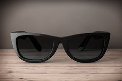 Cool Sunglasses In Black Plastic Frame. 3d Rendering Royalty Free Stock Images