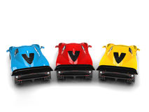 Cool super concept cars in primary colors - back view Stock Image