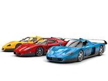 Cool super concept cars in primary colors - studio shot Royalty Free Stock Photos