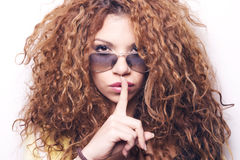 Cool swag woman with sunglasses. Stock Photos