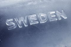 Cool Sweden. Word Sweden written with letters made of real ice Royalty Free Stock Image