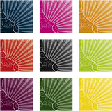 Cool swirly  background in 9 different color Royalty Free Stock Photos