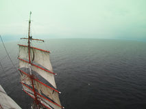 Cool tallship or sailboat, sailors aloft Stock Image