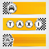 Cool taxi company banner set with metallic elements Royalty Free Stock Images