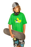 Cool teen holding shaketeboard Royalty Free Stock Photography