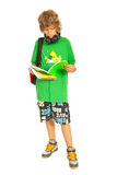 Cool teen schoolboy reading Stock Photography