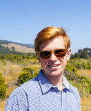 Cool teenage boy with sunglasses Royalty Free Stock Images