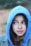 Cool teenage girl with hoodie royalty free stock images