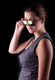 Cool teenage girl with sunglasses Royalty Free Stock Image