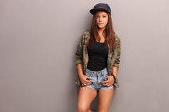 Cool teenage girl in trendy clothes Stock Image