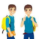 Cool Teenage Student. Making thumbs up hand sign ready to go back to school stock illustration