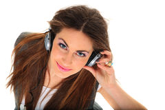 Cool teenager listening to music and dancing Royalty Free Stock Photos