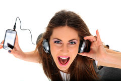 Cool teenager listening to music and dancing Royalty Free Stock Images