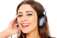 Cool teenager listening to music and dancing Royalty Free Stock Photo