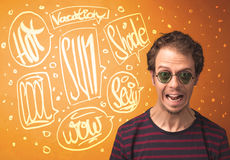 Cool teenager with summer sun glasses and vacation typography Royalty Free Stock Photo